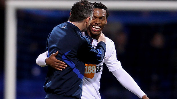 Former Bolton manager, Owen Coyle with Daniel Sturridge