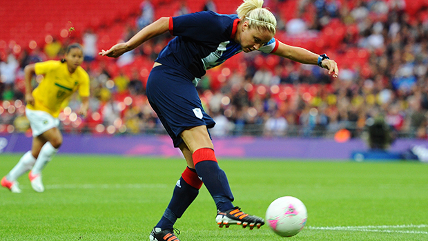 Stephanie Houghton scores the opening goal against Brazil on Day 4 of the London 2012 Olympic Games at Wembley Stadium