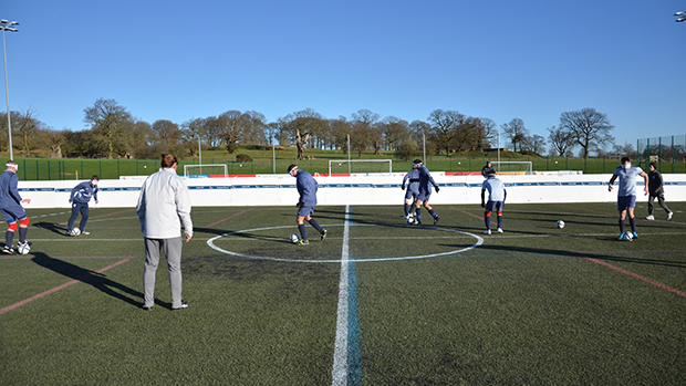 The David Beckham pitch was specially adapted for the England Blind Squad training session