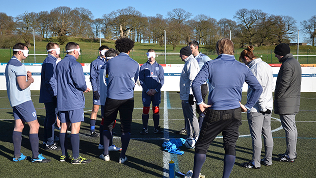 Graham Keeley, National Game Coaching Workforce Manager, and Marieanne Spacey, former England Women's International and Regional Coach Development Manager, take their first blind football training session