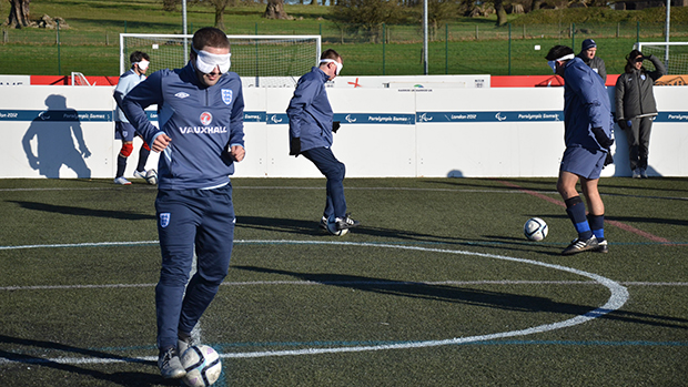 The England Blind Squad training at St. George's Park