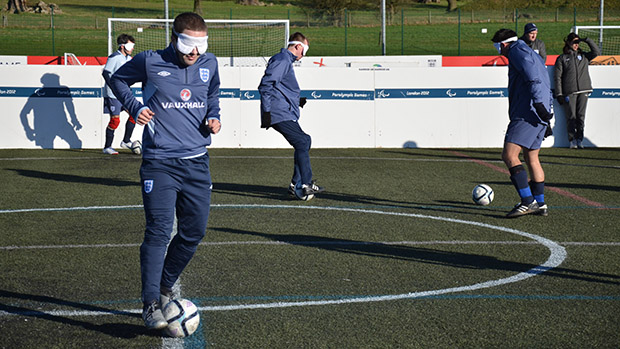 The England Blind Squad practice new ball manipulation skills