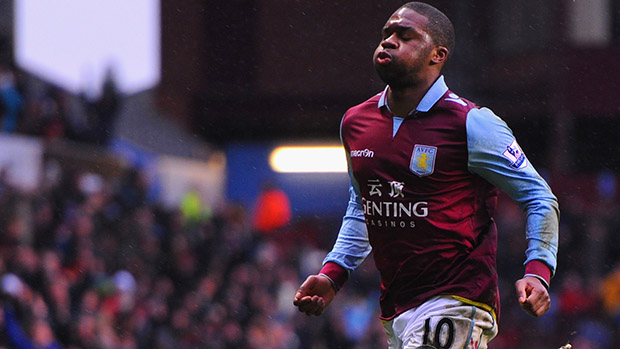 Aston Villa's Charles N'Zogbia celebrates after his stunning free-kick makes it 2-0 against West Ham United at Villa Park