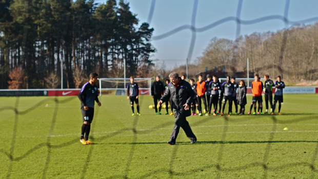Roy Hodgson delivers a training session on St. George's Park's pitch 4