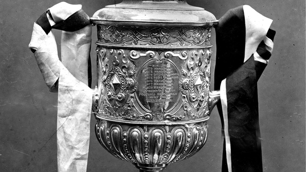 A close-up of the original FA Cup, in 1910