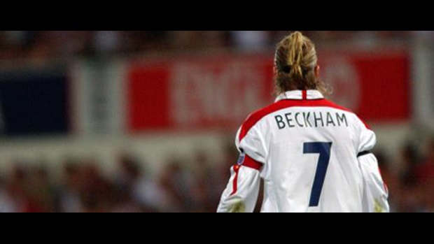 David Beckham playing against Croatia
