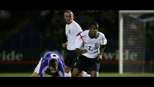 Scott Sinclair eases away from his marker during the defeat to France