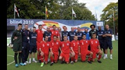 Gordon Banks stands alongside the England Blind Team after they finish fourth at the Blind World Championship.