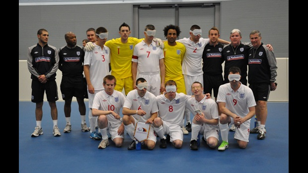 The England Blind team line up ahead of their victory over Germany.