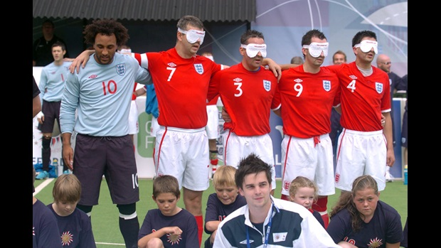 England line up ahead of their Blind World Championship semi-final defeat to Brazil.