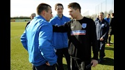 Craig Lundberg (left) meets Steven Gerrard at London Colney ahead of England's friendly against Egypt.