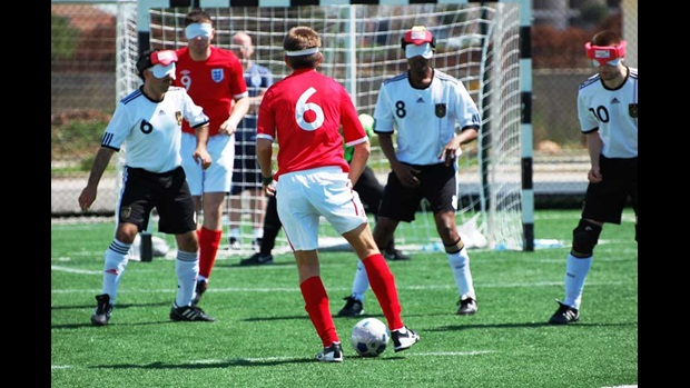 England Blind Squad in action against Germany.