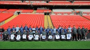 England's Powerchair squad meet the Senior team at Wembley.