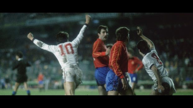 Gary Lineker celebrates against Spain in 1987.