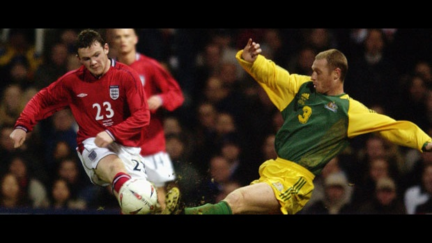 Wayne Rooney makes his debut against Australia in February 2003.