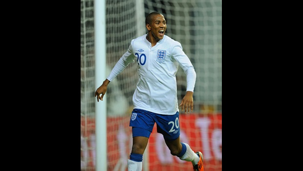 Ashley Young celebrates his first England goal, against Denmark in Copenhagen.