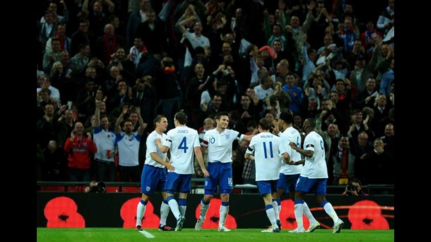 England celebrate against Spain.