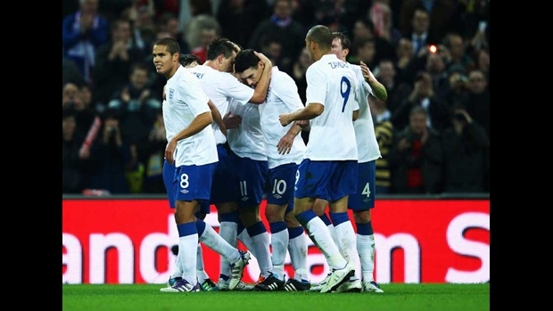England celebrate the opening goal against Sweden.