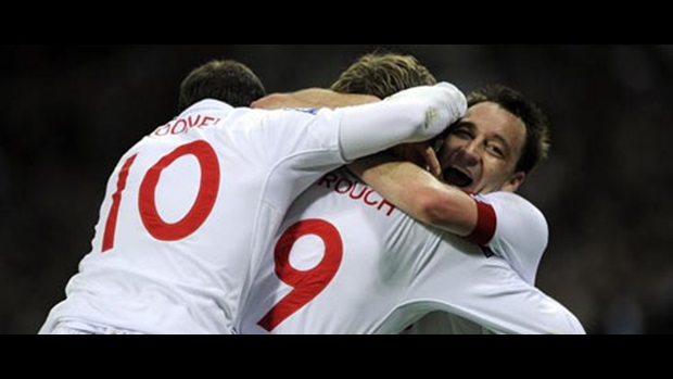 England celebrate the first goal of the night at Wembley