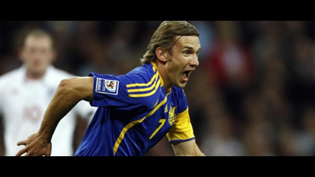 Andriy Shevchenko steers away in delight after equalising for Ukraine at Wembley.