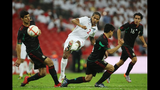 Glen Johnson curls home his first England goal, against Mexico in May 2010.