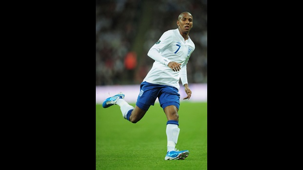 Ashley Young in action against Montenegro.