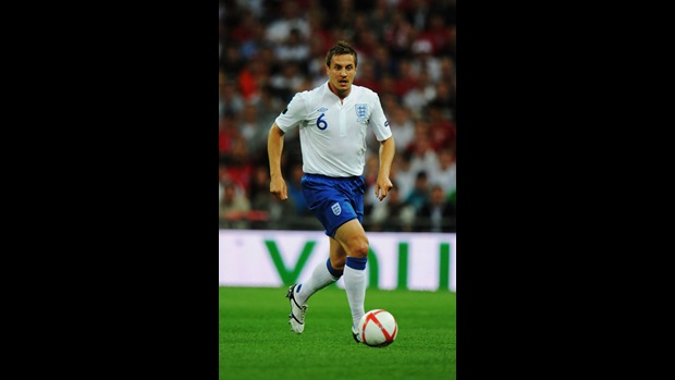 Phil Jagielka in action against Bulgaria.