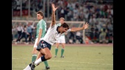 Gary Lineker celebrates scoring England's equaliser against Germany in 1990.
