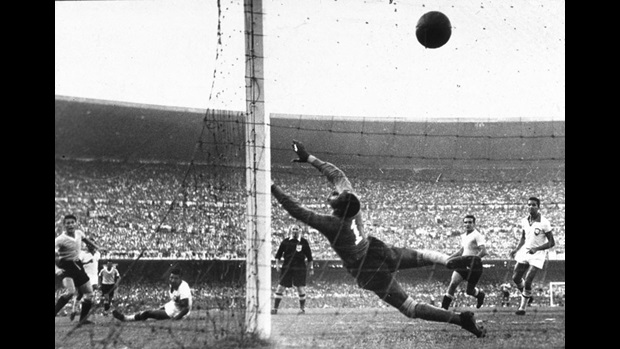 Ghiggia scores for Uruguay in the 1950 World Cup Final.
