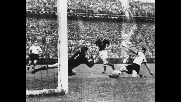 Max Morlock scores for Germany in the 1954 World Cup Final.