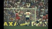 Trevor Francis scores against Czechoslovakia in 1982.
