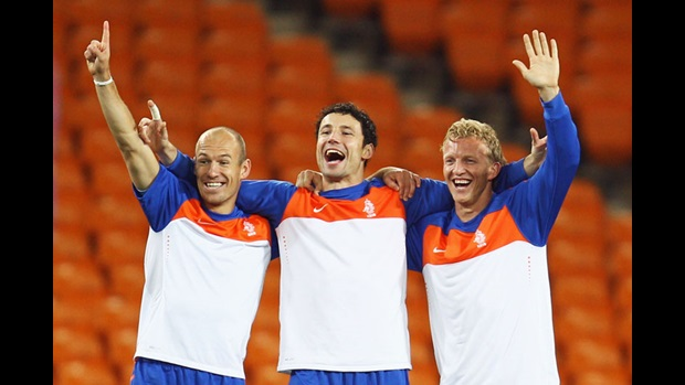 Arjen Robben, Mark Van Bommel and Dirk Kuyt