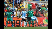 Gabriel Heinze powers a wonderful header home to give Argentina a winning start to their 2010 World Cup Finals campaign.