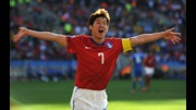 Ji-Sung Park celebrates after scoring South Korea's second goal against Greece.