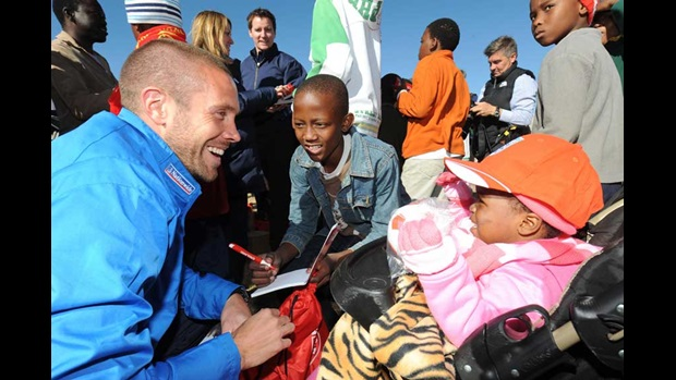 Matthew Upson chats with South African orphans in Rustenburg.