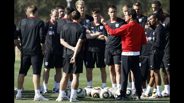 Fabio Capello instructs the squad at training.