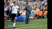 Fabio Capello watches England's performance against Germany.