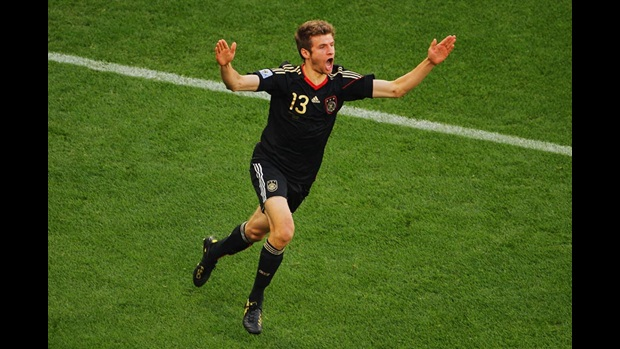 Germany's Thomas Muller celebrates after scoring the opening goal against Argentina in their last-16 clash in Cape Town.