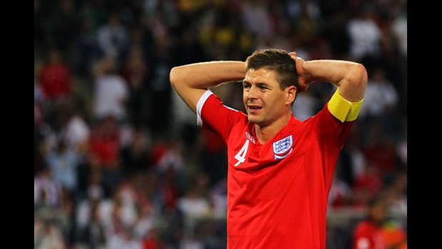 Steven Gerrard shows his disappointment as England lose 4-1 to Germany in the World Cup.
