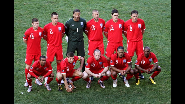 The team lines up before Slovenia