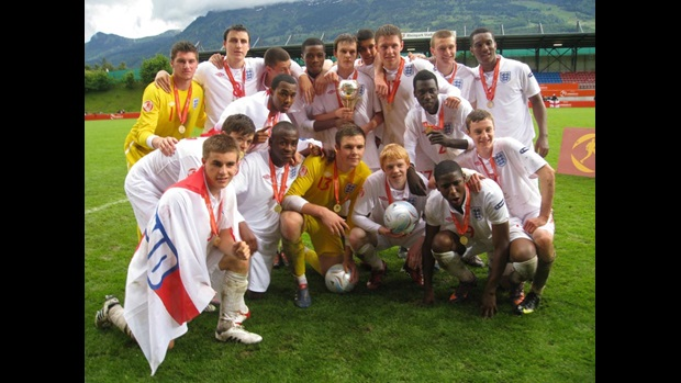 The England U17 team celebrate their European triumph in Liechtenstein.