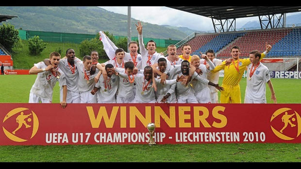 The 2010 UEFA European U17 Championship winners celebrate at the Rheinpark Stadion in Vaduz, Liechtenstein.