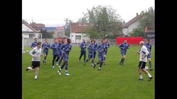 England U17s warm-up for training.