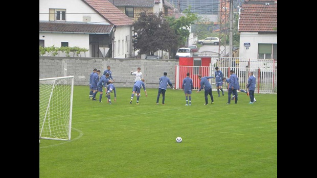 England U17s stretch in Serbia.
