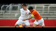 Luke Garbutt in action against Holland in last season's UEFA European U17 Championship.