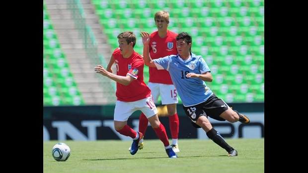 Max Clayton in action against Uruguay.
