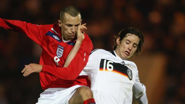 Danny Drinkwater in action for England U19s against Germany in 2008.