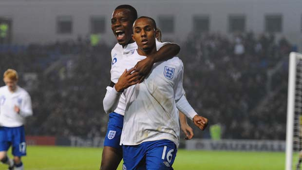 Robert Hall celebrates his winner against Denmark for England U19s.