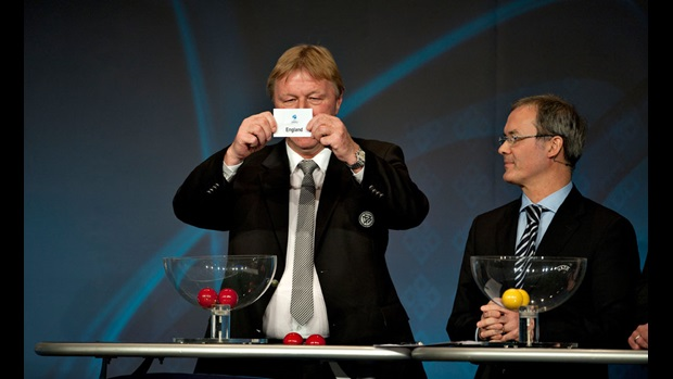 Germany U21 coach Horst Hrubesch pulls England's name out in the draw for Euro 2011 (Copyright Getty Images for UEFA)