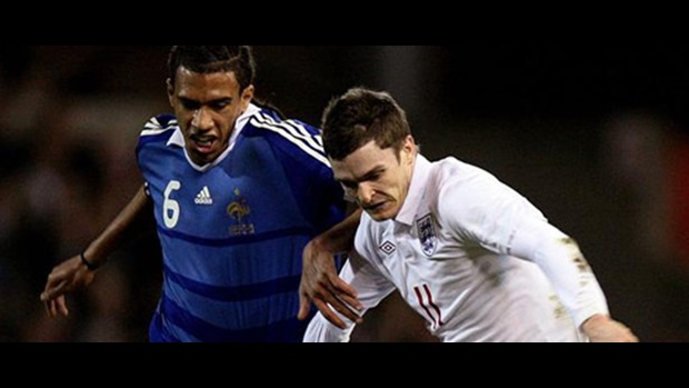 Adam Johnson in action against France at the City Ground.
